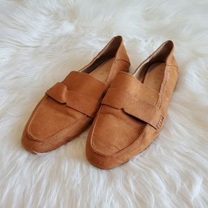 Zara Trafaluc Cognac Brown Faux Suede Loafer Shoes